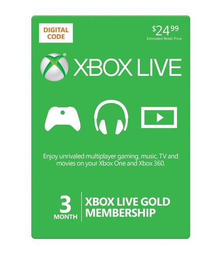 microsoft xbox live gold! membresía de 3 meses, multiregión!