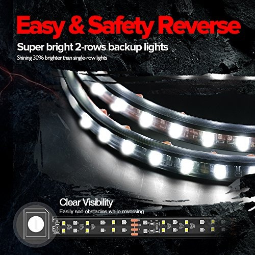 mictuning carro de led de 60 pulgadas y 2 hileras luz traser