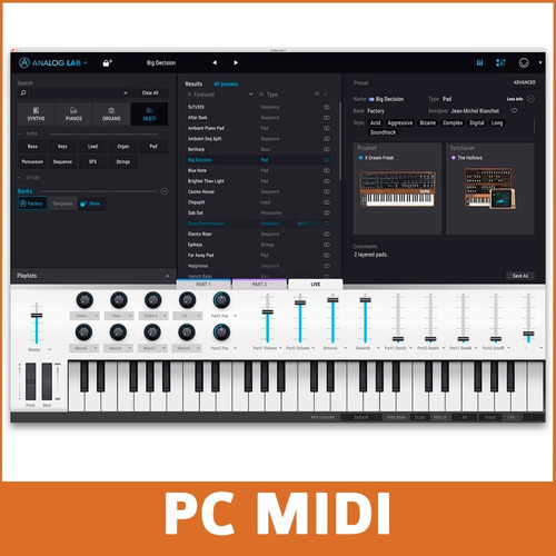 midiplus studio m placa de audio externa usb + vst arturia