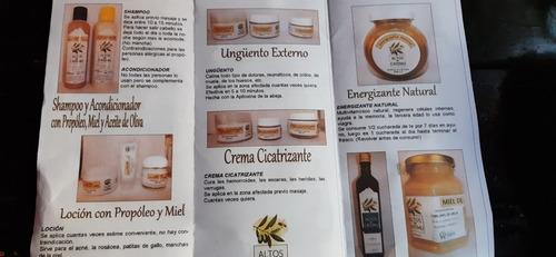 miel y subproductos shampoo cremas  energizante aceites