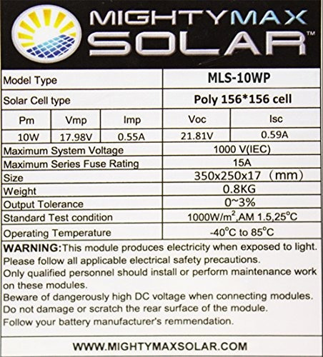 mighty max battery cargador de panel solar policristalino de