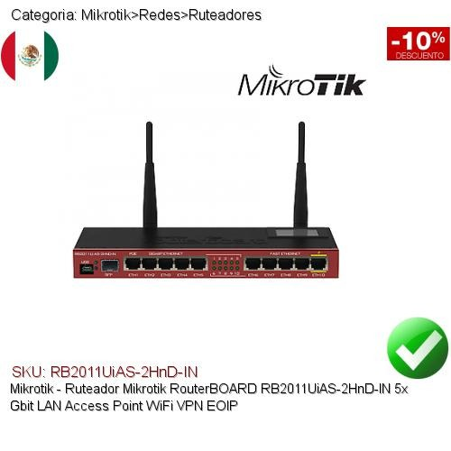 Mikrotik Routerboard Rb2011uias-2hnd-in Gbit Wifiap Vpn Eoip