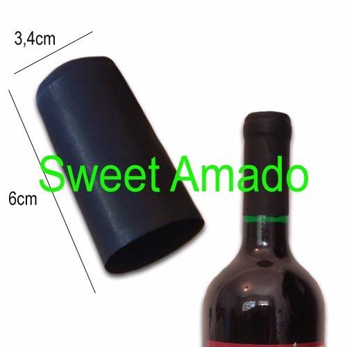 mil lacre termoencolhível p/ vinho cor preto 3,4cm x 6cm