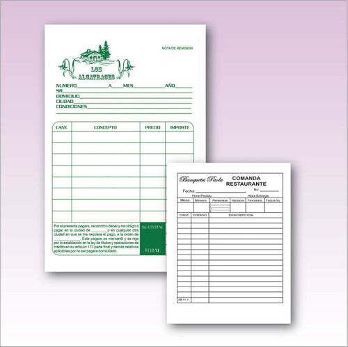 mil notas remision con copia autocalcable folio envio gratis