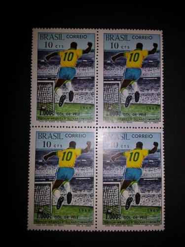milésimo gol do pelé/1969 - selos brasil - quadra