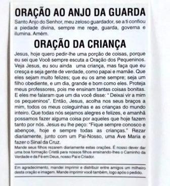Milheiro Santinho Anjo Da Guarda Oracao Promessa 1000 Unid R 32