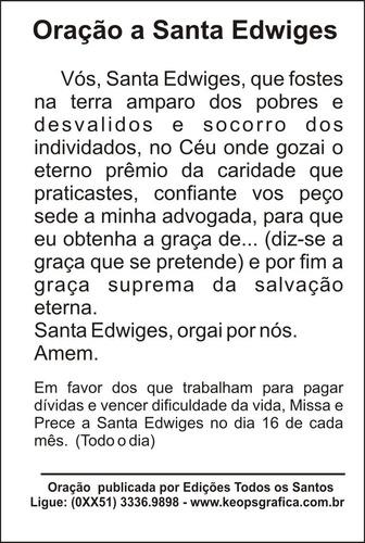 milheiro santinho santa edwiges oração promessa 1000 un