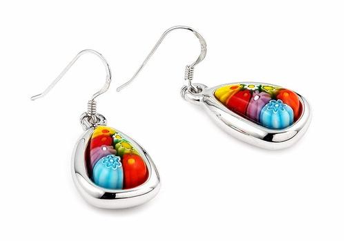 millefiori multi color drop shape earrings