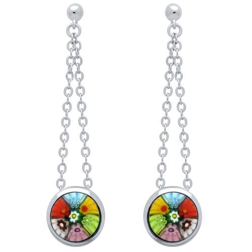 millefiori multi color round earrings