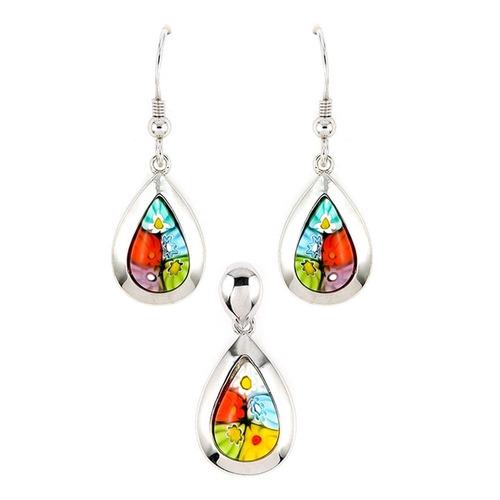 millefiori set: multi-color drop earrings and pendant