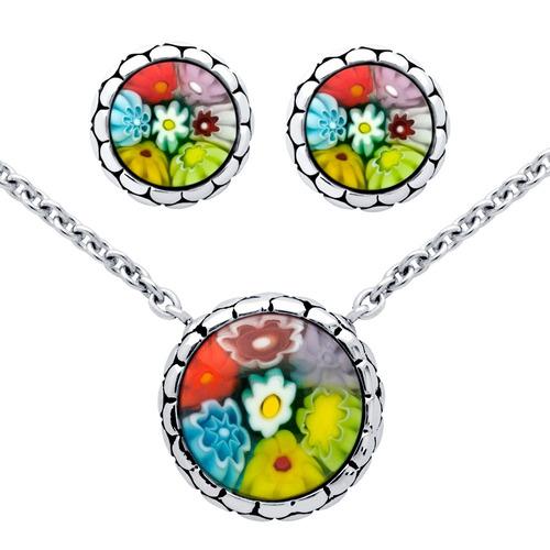millefiori set: multi-color round cabochon