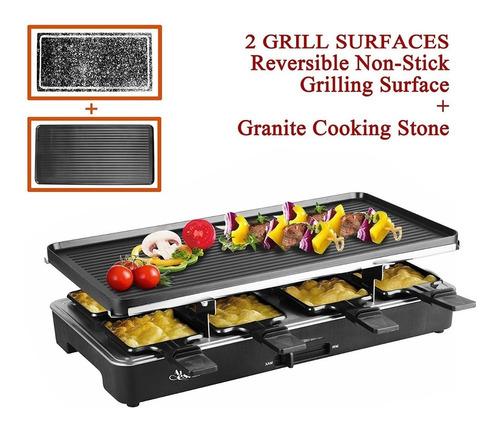 milliard raclette grill para ocho personas, incluye granito