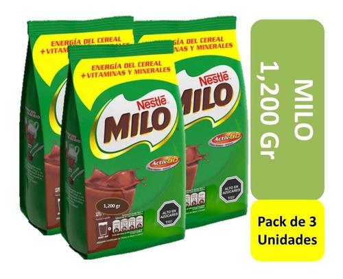 milo 1,200 gr en polvo pack x 3 unidades