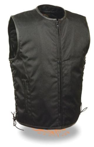 milwaukee leather hombres chaleco negro lg textil frente de