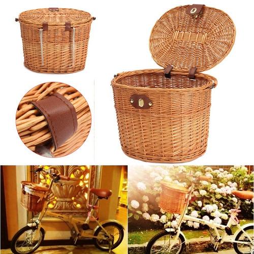 mimbre frente manillar bicicleta bicicleta cesta para compra