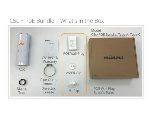 mimosa c5c+poe / pto a pto 5ghz ac +500mbps 4.5 a 6.4 ghz