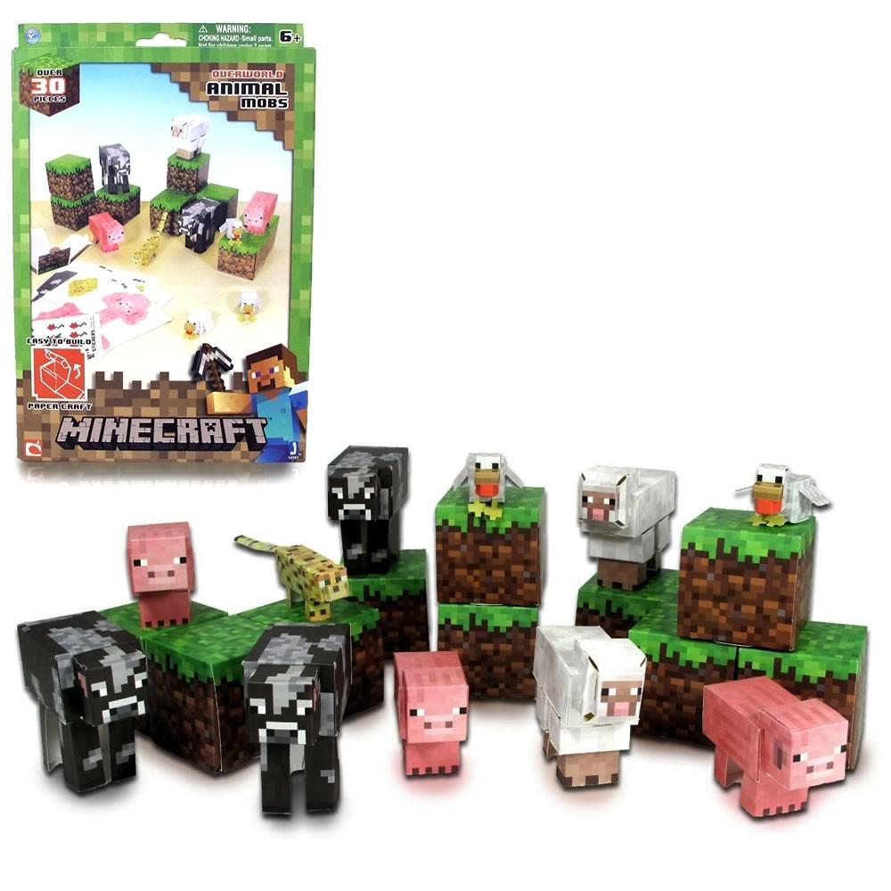 minecraft animal mobs paper craft 30pçs blocos montar papel r 74