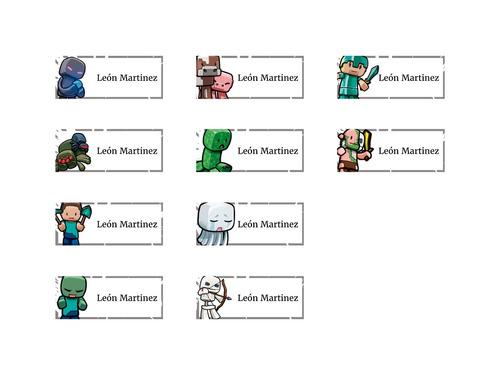 minecraft etiqueta escolar stickers autoadhesivos personaliz