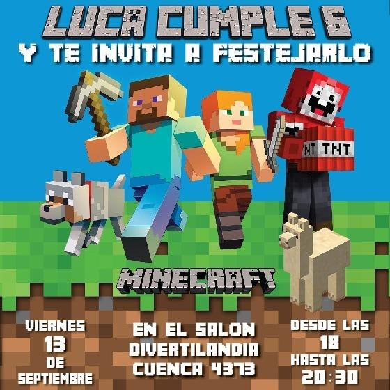 Minecraft Invitación Tarjeta Digital E Imprimible