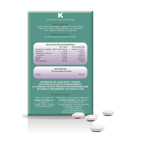 minesor potasio caja con 20 comprimidos  37388 soria natural