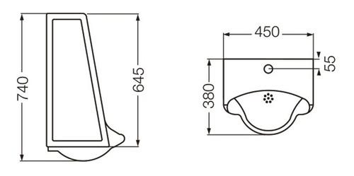 mingitorio mural corto ferrum mmcj + válvula automática fv