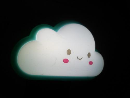 mini abajur luminária led tomada nuvem - azul - bivolt