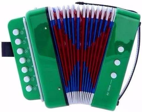 mini acordeón de juguete 7 acordes y 2 bajos