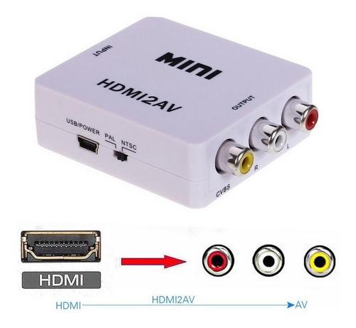 mini adaptador conversor de hdmi p/ rca - xbox/ps3