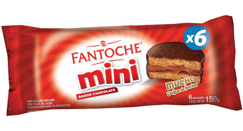 mini alfajor chocolate blister x6 fantoche caja x24 x6 c/u
