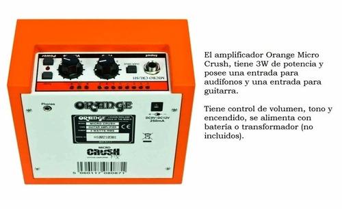 mini amplificador de guitarra 3w orange crush micro cr3