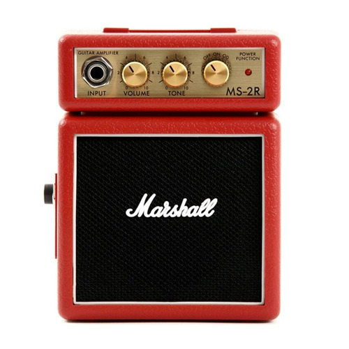 mini amplificador de guitarra marshall ms-2r 127v vermelho