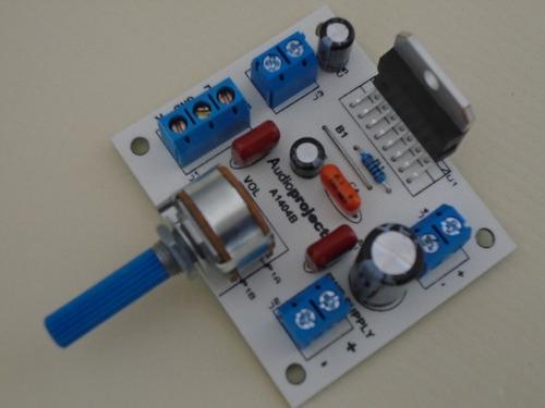 mini amplificador estereo 20+20 w 12 v c/vol - audioproject