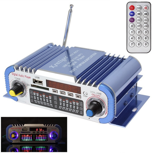 mini amplificador estéreo com fm - kentiger hy-601 a +fonte