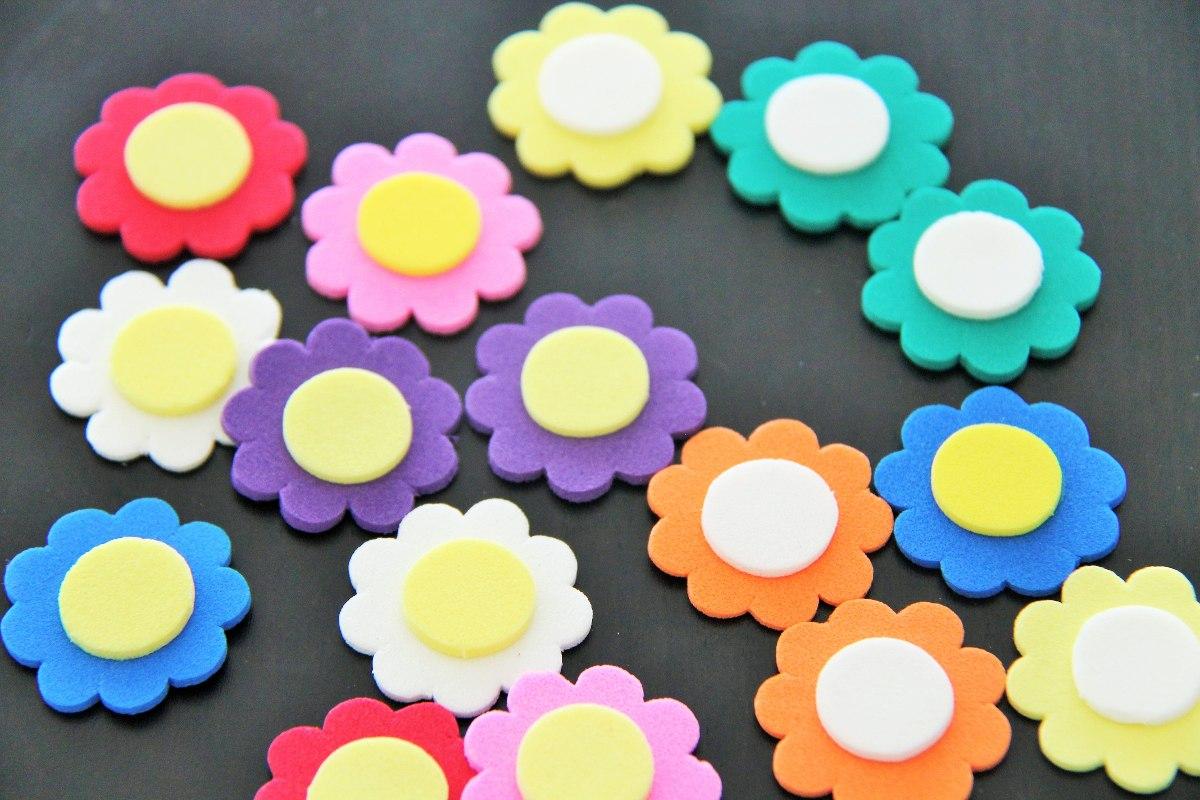 Mini aplicaciones formas flores manualidades goma eva 32 - Hacer nombres con goma eva ...