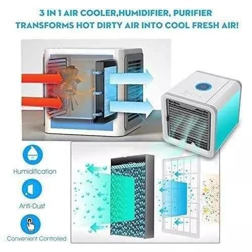 194804126 Mini Ar Condicionado Ventilador Portátil C  Lâmpada Colorida - R  99 ...