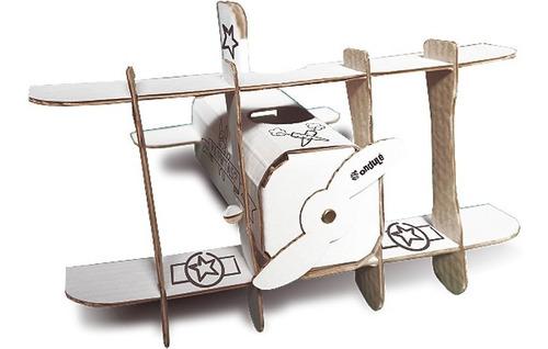 mini avión para pintar + stickers + libro sr. puescoespin