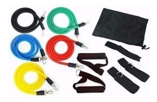 mini band com 6 faixas + kit elásticos extensores 11 pcs n f