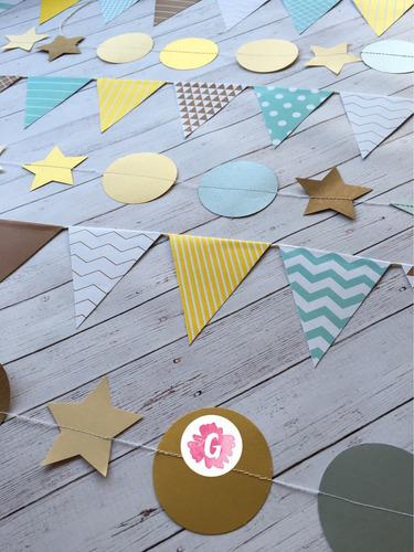 mini banderines guirnalda decoracion cumpleaños babyshower