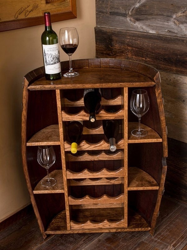 Mini bar artesanal barril de madera de roble por pedido for Barriles de madera bar