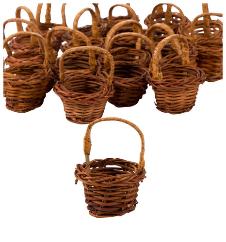 mini baskets- 24-pack miniature woven baskets with handles,