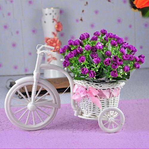 mini bicicleta cachepot vaso cesta flores triciclo decoração