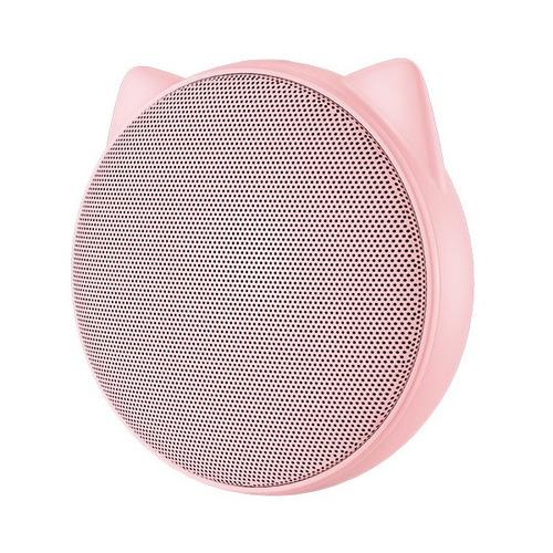 mini bocina bluetooth portátil orejas de gato rosado