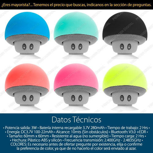 mini bocina hongo bluetooth impermeable recargable + envío