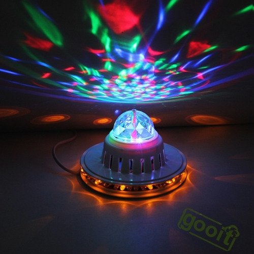mini bola led giratoria rgb tipo estrella crystal light dj