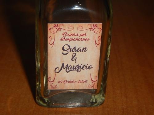 mini botella recuerdo matrimonio bautizo personalizada