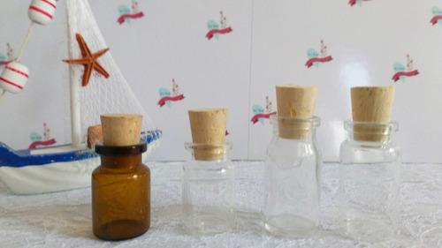 mini botellas frascos de vidrio con corcho o tapa plástica