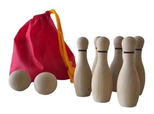 mini bowling juego mesa juguete madera didáctico niños baum