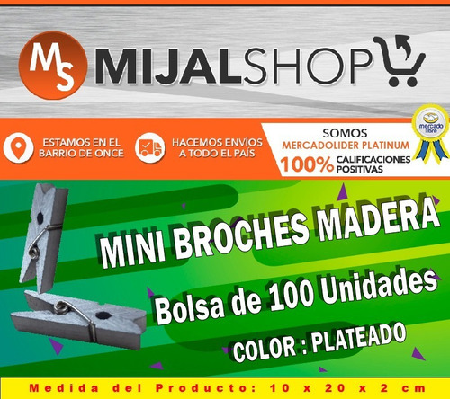 mini broches madera plateado pack 100 unidades 2,5 cm