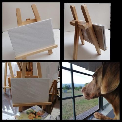 mini caballete 19cms alto 16 ancho en madera incluye canvas