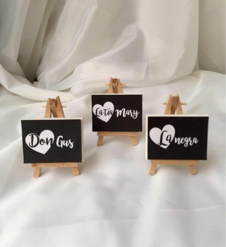 mini caballete en madera y lienzo marcador mesa boda